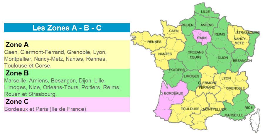 Les zones scolaires en France