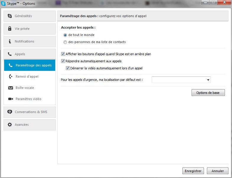 Skype paramètres vidéo